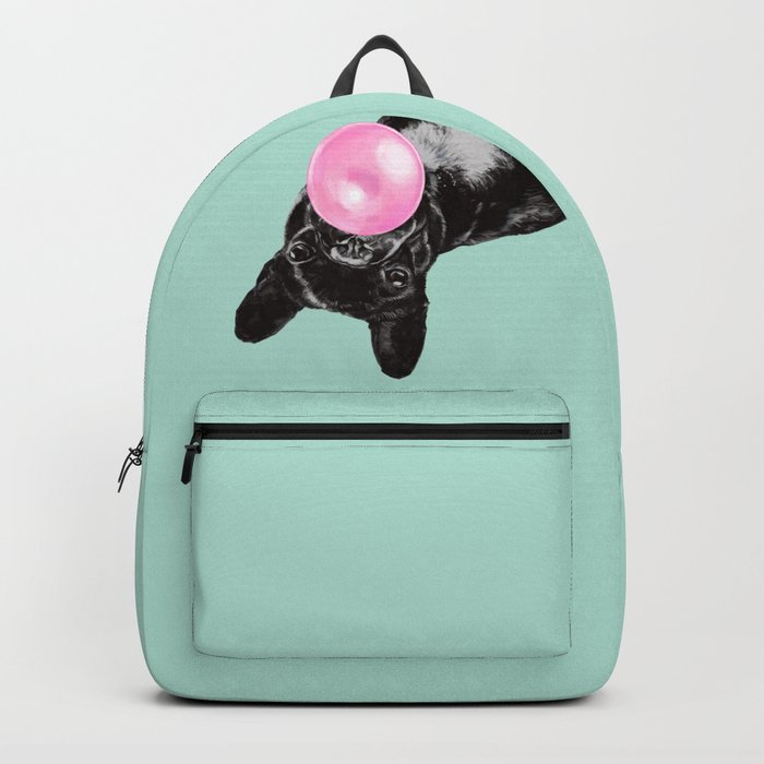 Bubble Gum Sneaky French Bulldog in Green Rucksack