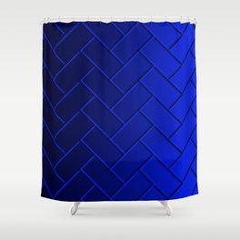 Herringbone Gradient Dark Blue Shower Curtain