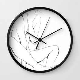 line drawing of nude woman Wall Clock