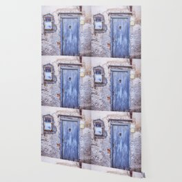 Old Blue Italian Door Wallpaper