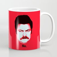 "ron swanson Mugs featuring Ron Swanson ""No"" by Silvio Ledbetter"