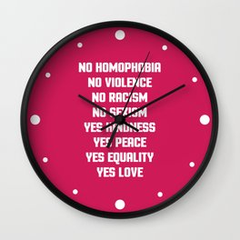 No Homophobia Quote Wall Clock
