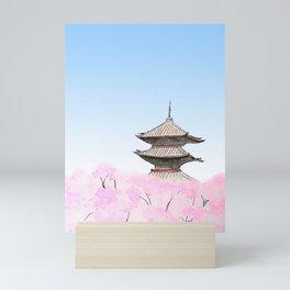 Temple and sakura Mini Art Print