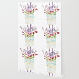 watercolor bucket of flowers Wallpaper
