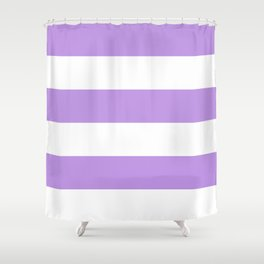 Wide Horizontal Stripes - White and Light Violet Shower Curtain