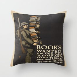 Vintage poster - Books Wanted Throw Pillow