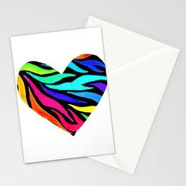 Rainbow Zebra Print Heart! Stationery Cards