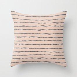 Minimalist Stripes Navy Gray on Blush Pink Throw Pillow