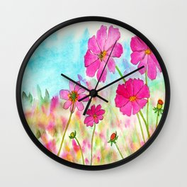 Symphony In Pink, Watercolor Wildflowers Wall Clock