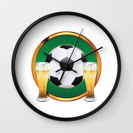 Two beer glasses and soccer ball in green circle Wall Clock