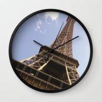 eiffel tower Wall Clocks featuring Eiffel Tower by caroline