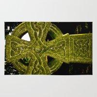 celtic Area & Throw Rugs featuring Celtic Cross by David Pyatt