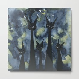 Norwich Whimsical Black Cats Metal Print