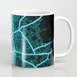 York, England, Blue, White, Neon, Glow, City, Map Coffee Mug