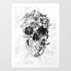 New Skull Light B&W Art Print