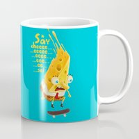 cheese Mugs featuring Say cheese by Lime