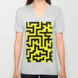 Black and Electric Yellow Labyrinth Unisex V-Neck