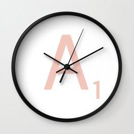 Pink Scrabble Letter A - Scrabble Tile Art Wall Clock