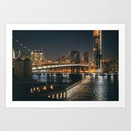 Manhattan Bridge Glow Art Print