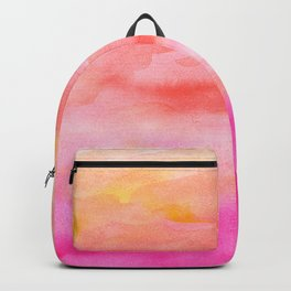 Bright pink orange sunset watercolor hand painted Backpack