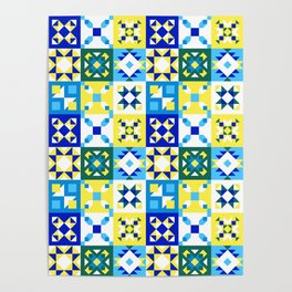 Moroccan tiles pattern with blue and yellow no4 Poster