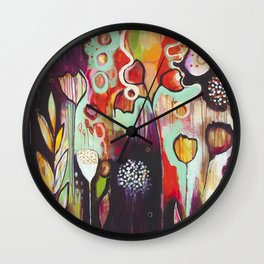 """Release Become"" Original Painting by Flora Bowley Wall Clock"