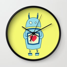 Cute Clumsy Robot With Heart Wall Clock