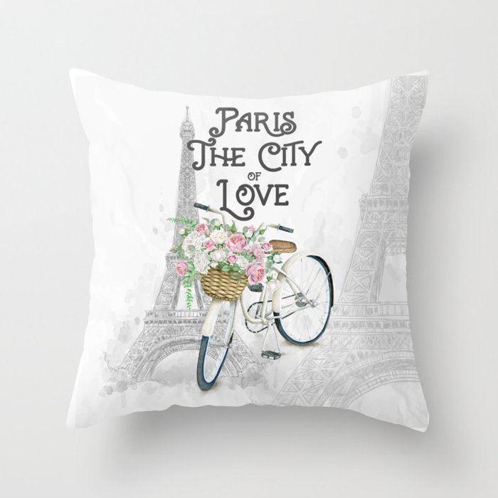 Vintage Paris Bicycle with Flowers Throw Pillow