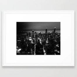 Chicago Skyline From The Signature Room in B&W Framed Art Print