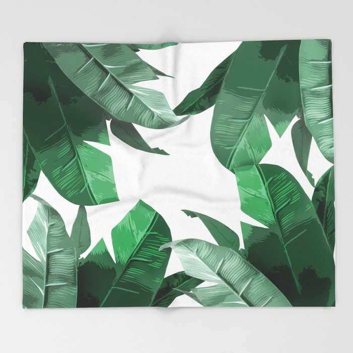 Tropical Palm Print Throw Blanket