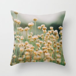 Vintage Chamomile Wildflowers Throw Pillow