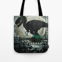 dinosaur Tote Bags featuring dinosaur by mass confusion