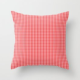 Small Snow White and Christmas Red Gingham Check Plaid Throw Pillow