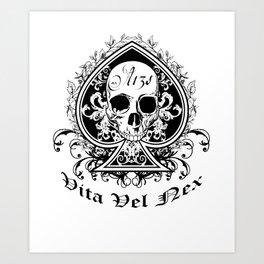 Life or Death Skull and Bones Biker Gang Art Print