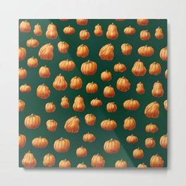 Illustrated Pumpkin Pattern Metal Print