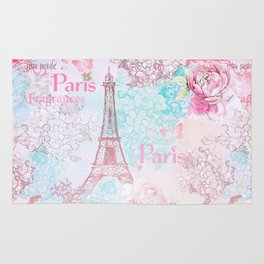 I love Paris- Vintage  Shabby Chic in pink - Eiffeltower France Flowers Floral Rug