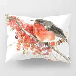 American Robin and Berries Pillow Sham