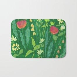 Sweet Green Floral Bath Mat
