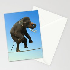 Elephant Walking on wire Stationery Cards