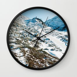 White Road Up the Alps Wall Clock