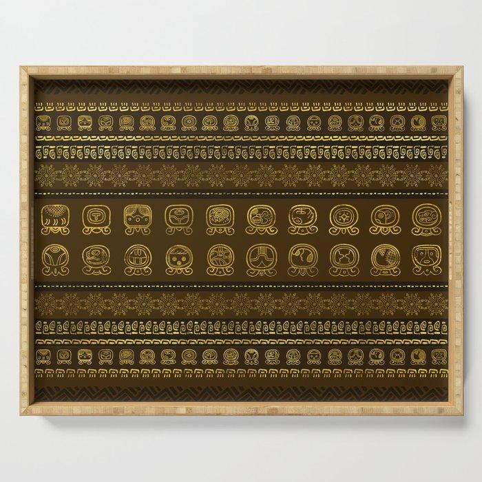 Maya Calendar Glyphs pattern Gold on Brown Serving Tray