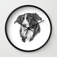 border collie Wall Clocks featuring Border collie 2 by Doggyshop