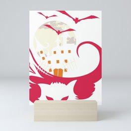 Halloween Cat Haunted House Bats Moon Mini Art Print
