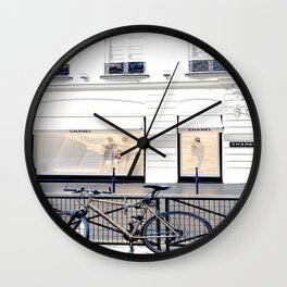 boutique coco paris and bicycle Wall Clock