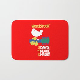 Woodstock 1969 - red background Bath Mat