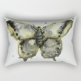 Yellow and Gray Butterfly Rectangular Pillow
