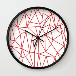 Geometric Cobweb (Red & White Pattern) Wall Clock