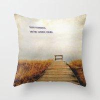 climbing Throw Pillows featuring Keep Climbing by KarenHarveyCox