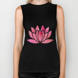 Zen Watercolor Lotus Flower Yoga Symbol Biker Tank
