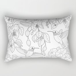 Hummingbirds and Flowers Coloring Page Rectangular Pillow